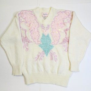 Jaclyn Smith White Pastel Sequin Grandma Sweater